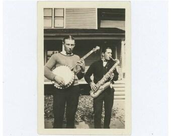 Joe (Dutch) & Del on Banjo and Saxophone, 1920s-30s Vintage Snapshot Photo (61449)