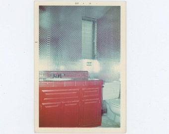 Bathroom, Abstract 1974 Vintage Snapshot Photo (66477)