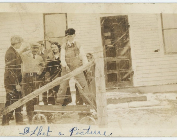 """What a Picture"""" Boy on Wagon, Family in Falling Snow c1930s Vintage Photo Snapshot [64453]"""