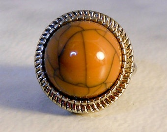 Silver plated  faux Jasper Ring,   Size 7.25   Southwest