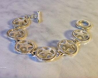 Vintage Silver Star Bracelet      Silver Plated Brass   Circle Medallion Bracelet