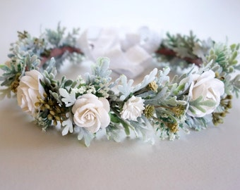 White Bridal Crown, Flower Crown, White Flower Crown, Winter Wedding, Boho Headdress, Bridal Crown, Woodland Wedding, Floral Head Wreath,