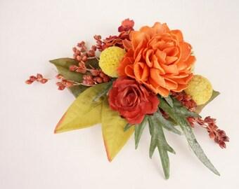 Fall Hair Clip, Rustic Fall Hairpiece, Fall Wedding Accessory, Bridal Hair Clip, Orange Hairpiece, Sola Flower, Bridesmaids Hairpiece