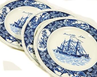 Three Wedgwood Friendship Salem Side/Salad/Dessert Plates Blue and White Sailing Ship