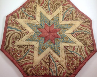 Rose, Paisley and Beige Star Hot Pad