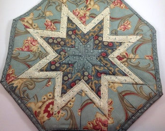 Blue Filigree and Cream Star Hot Pad
