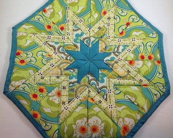 Green and Turquoise Floral Star Hot Pad