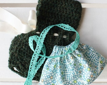 """Alpaca/Wool Cape and Green Halter Dress Set, An Outfit to Fit 5"""" Pocket Kid Waldorf Doll by Wild Ginger Dolls, All Natural"""