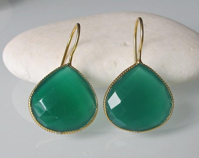 Pear Shape Onyx Earrings- Green Onyx Earring- Green Earring- Dangle Earring- Stone Earring- Gemstone Earring- Silver Earring- Earring