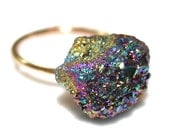 Peacock Druzy Ring Purple Druzy Ring Drusy Ring Druzy Jewelry Sparkly Ring Raw Ring Adjustable Ring Gold FIlled Ring Stone Ring Drussy Ring