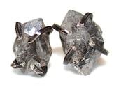 Raw Quartz Stud Earrings Organic Earrings Herkimer Quartz Jewelry Free Form Earrings Herkimer Diamond Quartz Prong Set Earring Raw Gemstones