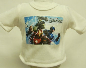 Avengers (1) Theme Silver Glitter Transfer T-Shirt For 16 or 18 Inch Dolls Like The American Girl Or Bitty Baby