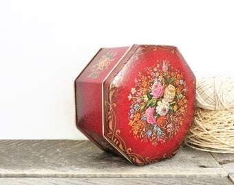 SALE - Vintage Tin - Red with Flowers - Tea Box - Pretty Gift Box