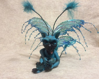 ooak Fairy friend art doll sculpture  critter fae pixie  bean silly  little thing with wings pixie fae