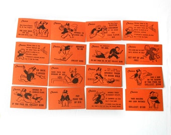 Vintage Set of 16 Monopoly Chance Cards Parker Brothers