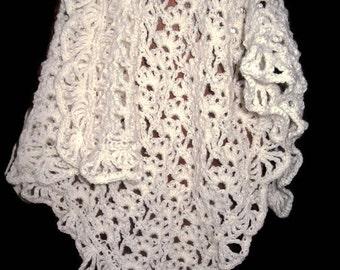 Baby Blanket * Cream Ivory Crochet * 100% natural Alpaca * Christening Wedding Baptism Afghan * Christmas Gift * Handmade in Ireland