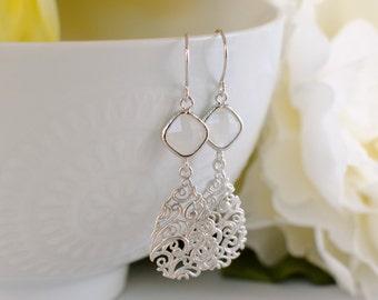 The Estelle Earrings - Silver/Smoke