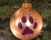 Huskies Paw Print Ornament,University of Washington Huskies Ornament, Purple Ornament, Dog Paw Ornament, Purple Glass Christmas Ornament