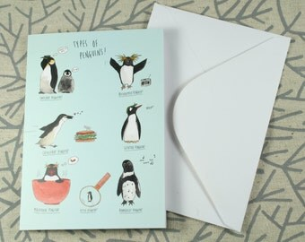 Types of Penguins Greetings Card - White 340gsm 105mm x 148mm *Blank Inside*