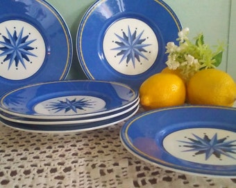 Cobalt blue small luncheon plate set, Victoria & Beale Casual Williamsburg, starburst, set of 6, cake, bread, porcelain, microwave safe