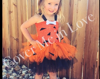 Pebbles cavegirl inspired tutu dress orange and black  sz 9 mo to 7-8