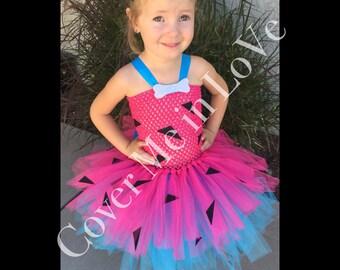 Pink and teal Pebbles cavegirl inspired tutu dress sz 9 mo to 7-8