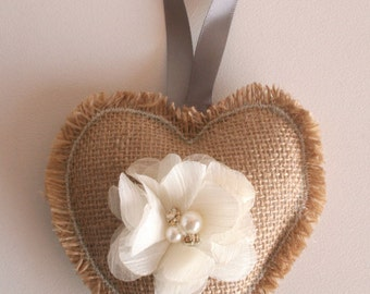 Burlap and Bling, READY TO SHIP, hanging ornaments, jeweled flowers