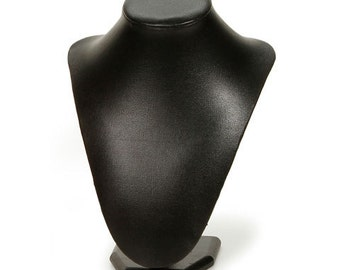 BLACK LEATHERETTE JEWeLRY  DISPLaY BuST -  MANNeQUIN for Necklaces or Scarves - LEATHERETTE -