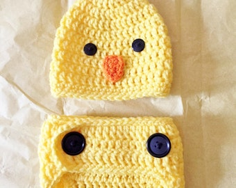 Baby Chicken Hat, Newborn Diaper Cover Set, Baby Chick Costume, Newborn Baby Clothing, Photo Prop, Babies Clothing, Easter Outfit
