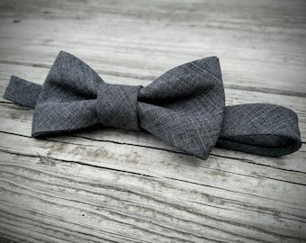 Boys Bow Tie- Grey/ Dark Grey  - Sizes newborn-adult