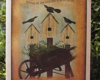 Birds with Birdhouses Birthday Card - FREE SHIPPING