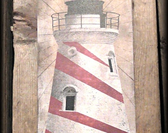 Lighthouse LARGE Red Stripes Hang Tag