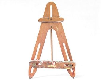 Vintage Wooden Table Top Artists Easel - Vintage Wooden Easel - Vintage Art Supplies - Made in Broolyn, NY - Boho Decor