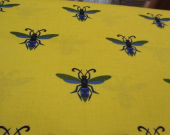 QuiltingWeight Cotton Fabric Gregory's Garden Wasp in Cornfield designed by Jane Sassaman for Free Spirit 1 yard