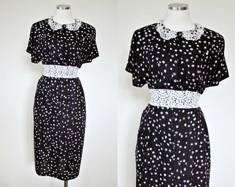 1940s Vintage Replica from 1980s | Black White Dress w/ Peter Pan Lace Collar by Blondie and Me