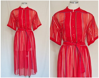 1950s Vintage Red Striped Transparent Striped House Shirt Dress | Size 10