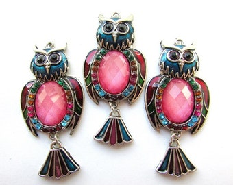 Owl Pendant Pink Owl Charm 25 x 55 mm Multicolor Owl Pendant Focal Pendant Jewelry making Supplies