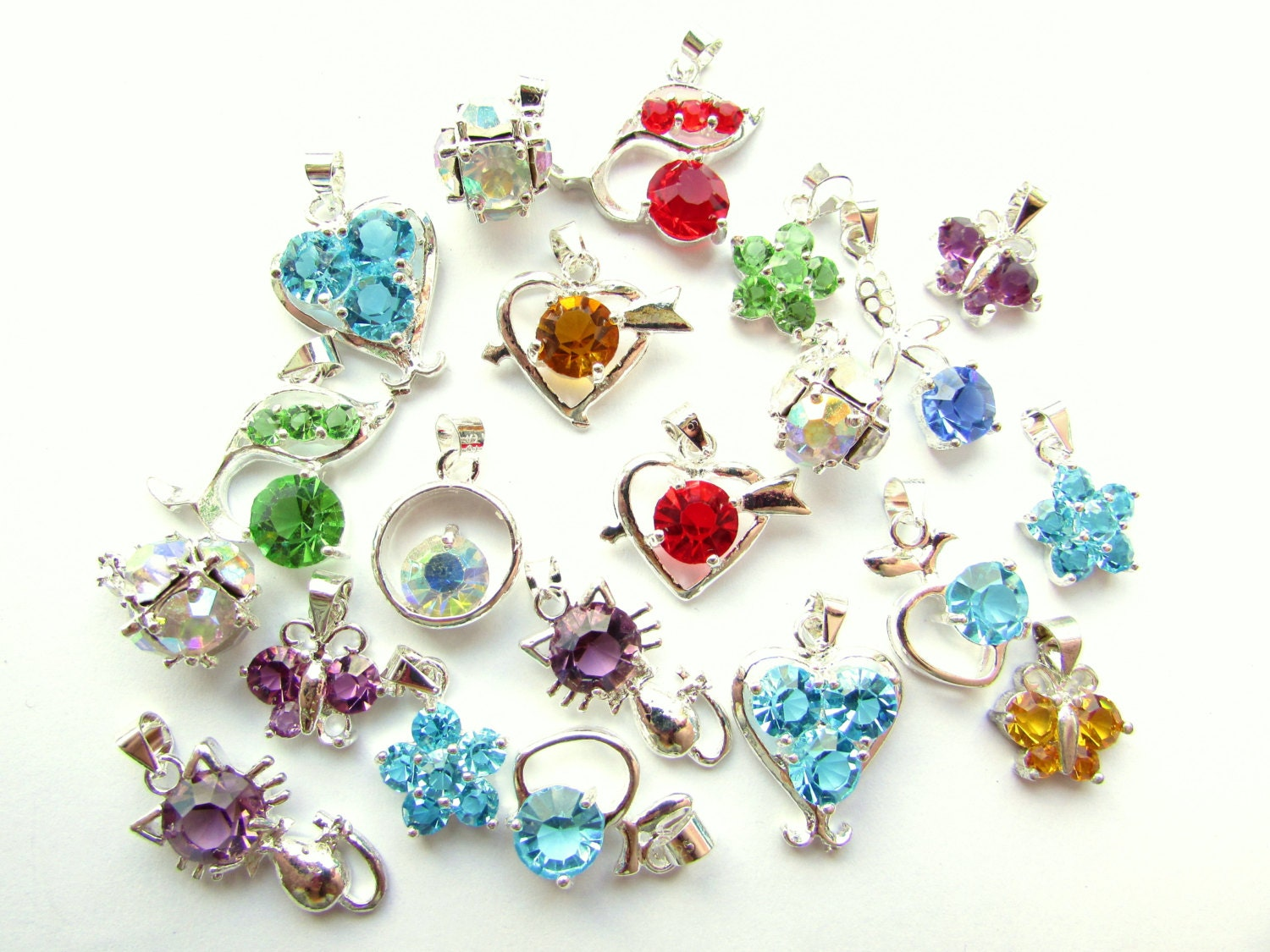 6pcs assorted glass rhinestone charms mixed colors charms for Craft and jewelry supplies