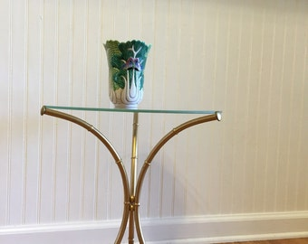 FAUX BAMBOO TABLE Base Round Accent Table, Night Table, Chinoiserie, Hollywood Regency, Romantic Home at Ageless Alchemy