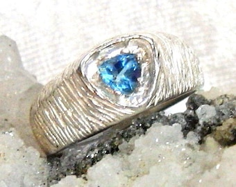 6mm Swiss Blue Topaz Ring, Blue Topaz Trillion Ring 925 Sterling Silver Ring, Size 9