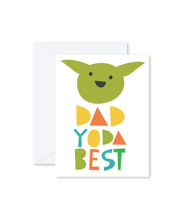 GREETING CARD   Dad Yoda Best  : Star Wars Modern Illustration Art
