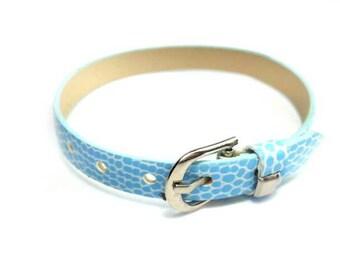 8mm Light Blue Leatheroid 8mm Slider Wristband - 8mm Alphabet Slide Letter Band Wristband