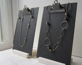 Two Black Clipboard Book Jewelry Displays - Necklace & Earring Display - Recycled Jewelry Display - Ready to Ship