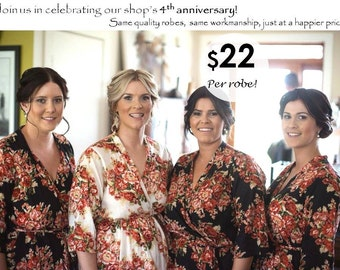 Bridesmaid Robes Set of 4 Kimono Crossover Robe Spa Wrap Perfect bridesmaids gift, getting ready robes, Wedding shower party favors