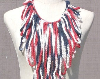 Red White , and Blue fringe necklace , Patriot colored necklace , Cotton fringe necklace , Gift for Her , Gift under 20 , Ready To Ship