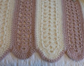 Gorgeous Hand Crocheted Pink and Ivory Afghan with Scalloped edges.