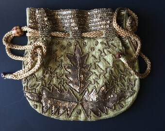 VINTAGE: Gold Beaded Drawstring Purse