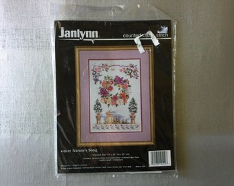 Vintage 1995 Janlynn Counted Cross Stitch Nature's Song