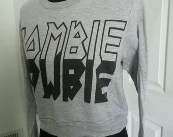 Zombie horror sweat shirt crop top size small