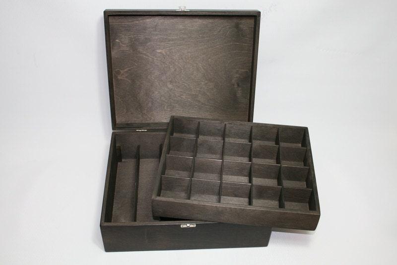 bo te de rangement en bois collection box avec compartiment. Black Bedroom Furniture Sets. Home Design Ideas